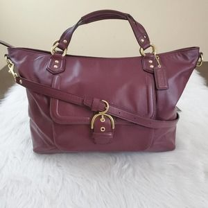 Coach Campbell Izzy Lg Burgundy Leather Satchel